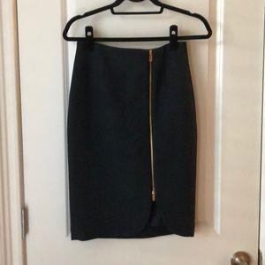 Navy Pencil Skirt with Zipper Detail